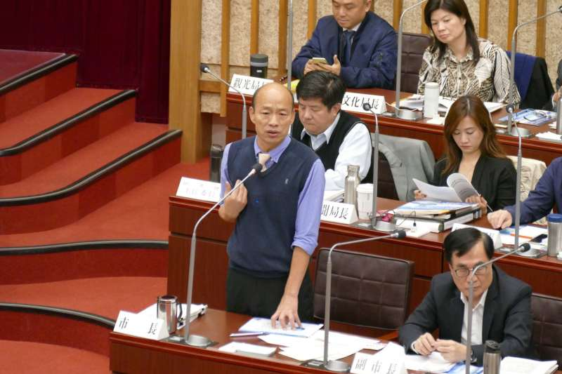 高雄市長韓國瑜18日到市議會備詢。(取自高雄市議會臉書)