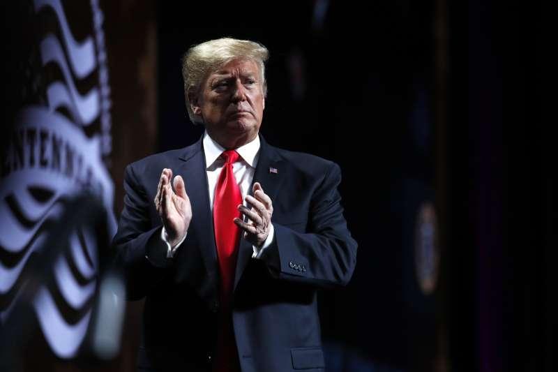 2019年1月14日,美國總統川普在紐奧良州出席活動。(美聯社)