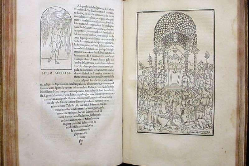「《尋愛綺夢》的出版,並非一個獨立的事件,而是當時整個歐洲社會變動的一個縮影,文藝復興的崇古時尚、威尼斯特殊的地緣、閱讀習慣的逐漸變化,加上阿爾都斯的個人魅力,一部被譽為文藝復興最美的書籍於焉誕生」。圖為《尋愛綺夢》書頁。(取自維基百科)