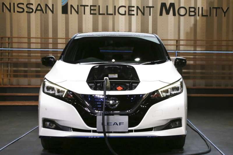 日本汽車大廠日產的Leaf電動車。(美聯社)