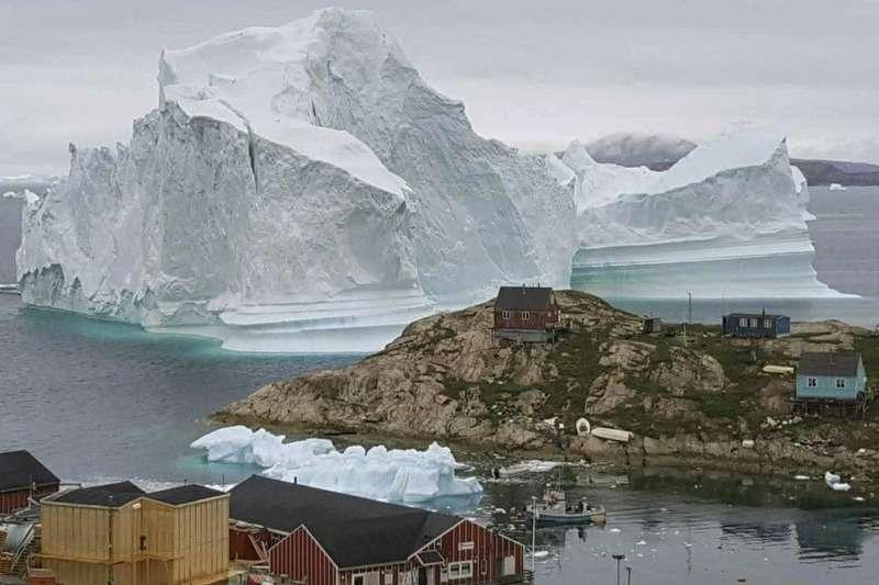 格陵蘭島冰層消融。(AP)