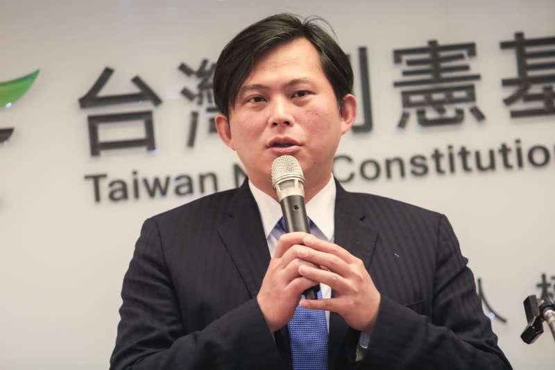 20190123-立法委員黃國昌23日出席台灣制憲基金會開幕式。(簡必丞攝)