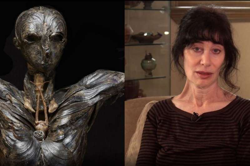 藝術家吉莉安•格恩瑟和她的作品「亞當」,她在創作過程吃盡苦頭,不明原因嚴重癡呆、腦受損幾乎瀕死,後來才驚覺兇手竟是自己的作品!(圖/Gillian Gensen,BBC提供)