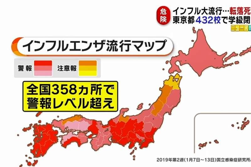 日本流感(インフルエンザ)疫情持續蔓延。