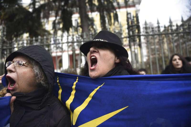 2019年1月25日,希臘民眾在雅典示威,表達對馬其頓更改國名的不滿。(美聯社)