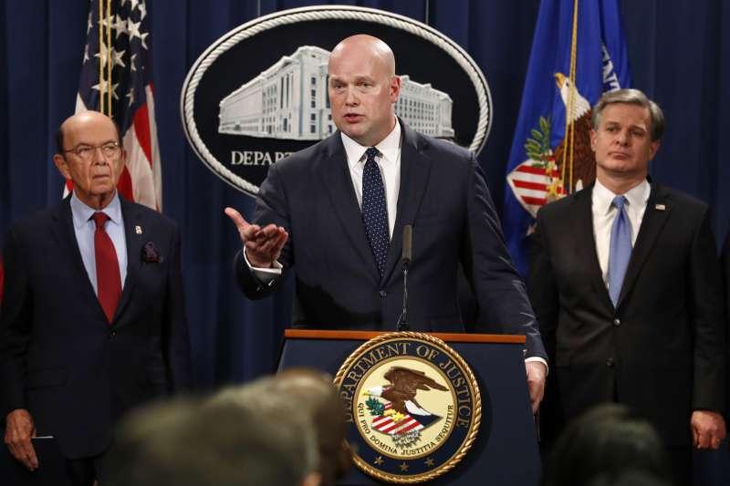 美國司法部長惠塔克(中)、商務部長羅斯(右)與聯邦調查局(FBI)局長瑞伊(AP)