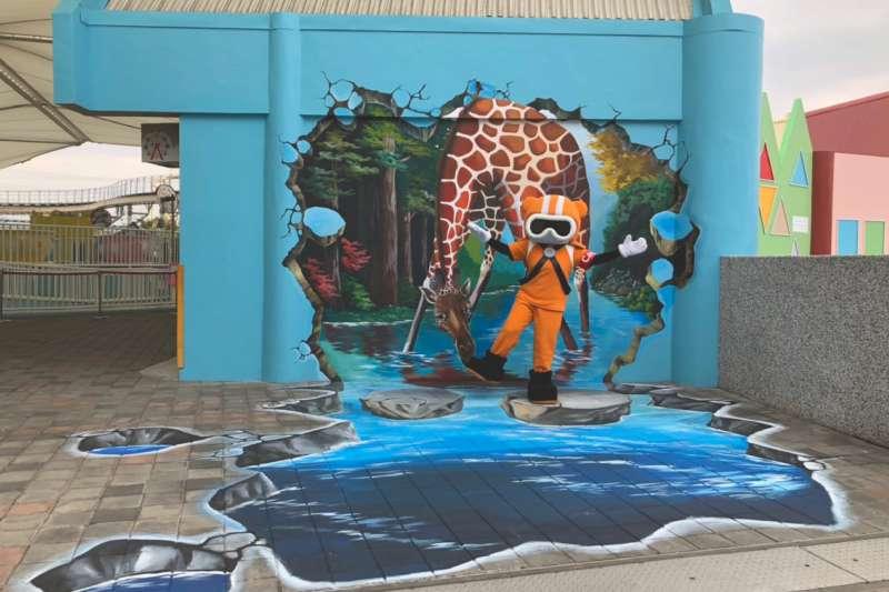 台北市立兒童新樂園推出豬年春節活動,園區內還有最新的3D立體彩繪背景,打造拍照打卡聖地!(台北市政府提供)