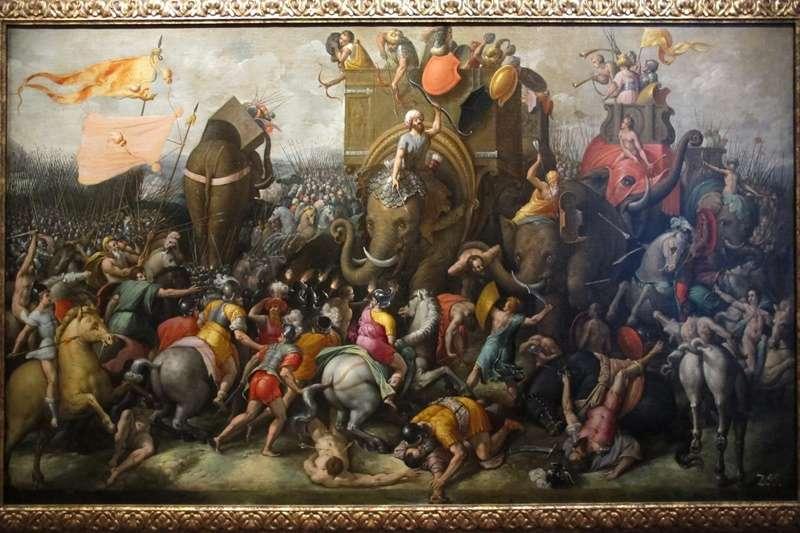 16 世紀荷蘭畫家 Cornelis Cort 描繪古羅馬與迦太基的札馬戰役,迦太基名將漢尼拔率領戰象迎戰羅馬大軍。(圖/*CUP)