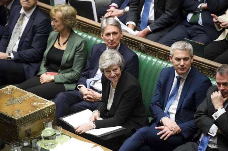 2019年1月29日,英國國會就首相梅伊的脫歐協議修正案進行表決。(AP)