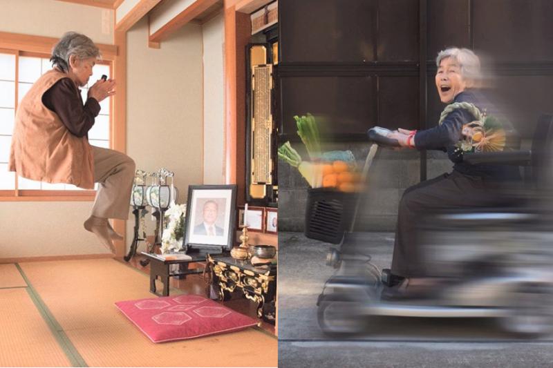 幾年前,日本網路上流傳幾張老人被車輾過、老婆婆被裝進垃圾袋的照片,搞不清楚的人還以為是受虐老人案件,一追查之下才發現:原來90歲阿嬤學會攝影跟P圖之後根本沒有極限!(圖/西本喜美子@facebook)