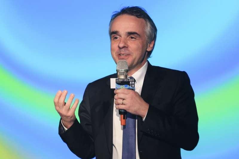 20190131-法國在台協會主任紀博偉31日出席思辨之夜。(簡必丞攝)