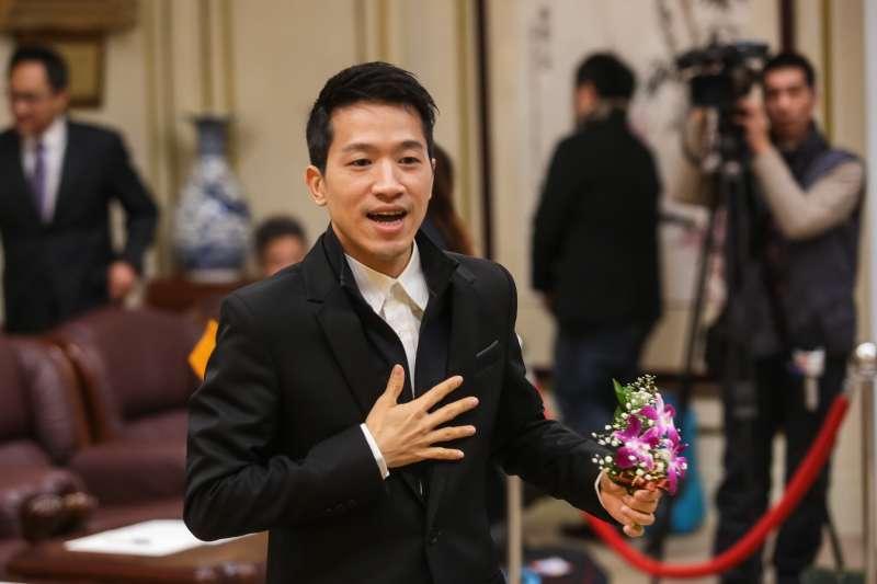 20190201-民進黨新科立委何志偉1日出席宣誓就職典禮。(顏麟宇攝)