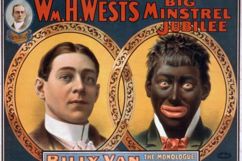 美國十九世紀「街頭藝人秀」(minstrel show)的白人「扮黑臉」(blackface)(Wikipedia / Public Domain)