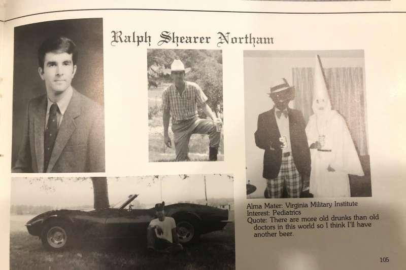 美國維吉尼亞州州長諾桑姆(Ralph Northam)1984年畢業紀念冊的三K黨與「扮黑臉」(blackface)照片引發政治風暴(AP)