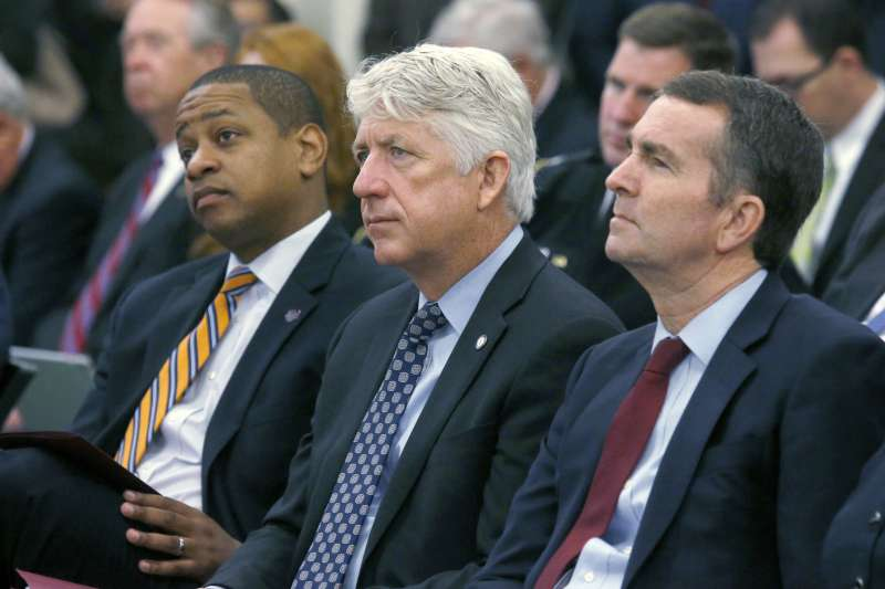 美國維吉尼亞州政壇三巨頭,左起:副州長費爾法克斯(Justin Fairfax)、州檢察長賀林(Mark Herring)、州長諾桑姆(Ralph Northam)(AP)
