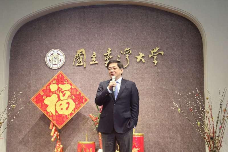 20190212-管中閔12日首次主持台大新春團拜。(台灣大學提供)