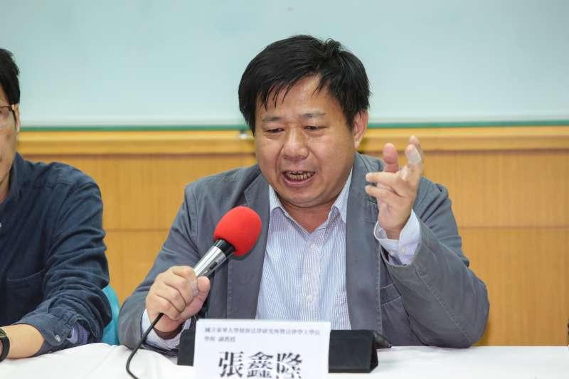 20190214-東華大學財法所副教授張鑫隆14日召開「百名學者聲援機師工會罷工行動」記者會。(顏麟宇攝)