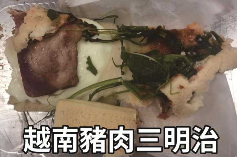 20190215-來自越南的豬肉三明治被驗出有非洲豬瘟病毒,農委會主委陳吉仲宣布,15日晚間6點起將越南來台旅客列入手提行李入境百分之百檢查對象。(防檢局提供)