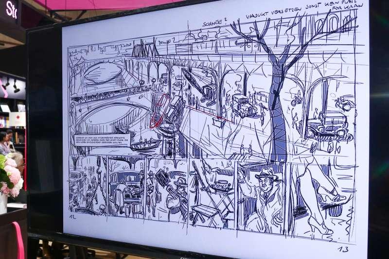 20190215-「第27屆台北國際書展」漫畫家意許專訪,圖為意許手稿。(蔡親傑攝)