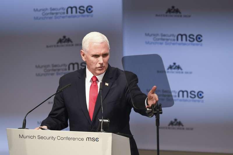 美國副總統彭斯16日在慕尼黑安全會議呼籲盟邦禁用華為產品。(AP)