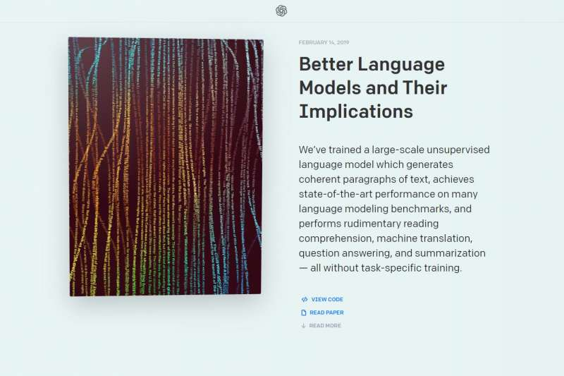 Open AI開發的自動寫作人工智慧GPT2。(截圖自Open AI)