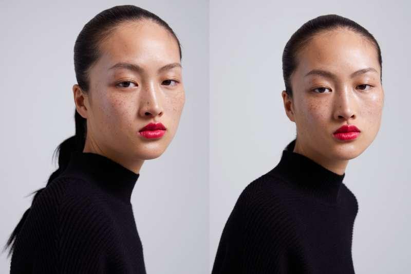 中國超模李靜雯為Zara拍攝彩妝廣告,但臉上雀斑未被修掉,被中國網友批評是醜化中國人(翻攝Zara官網)