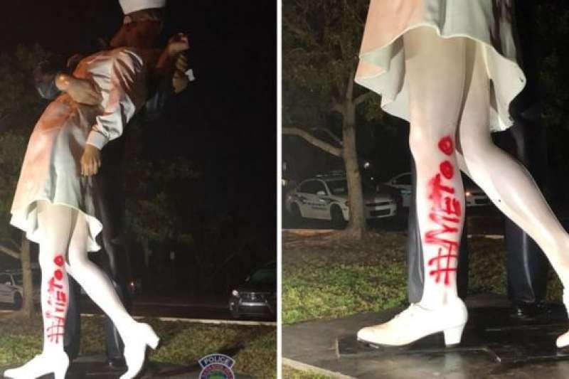 設在美國佛羅里達州的「無條件投降」雕像遭到塗鴉。
