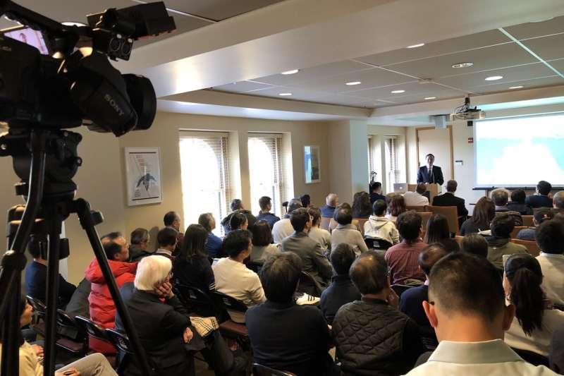 20190220-前新北市長朱立倫在台灣時間20日上午在史丹佛大學發表演說。(許毓仁提供)