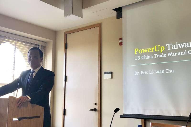 前新北市長朱立倫在台灣時間20日上午在史丹佛大學發表演說。(許毓仁提供)