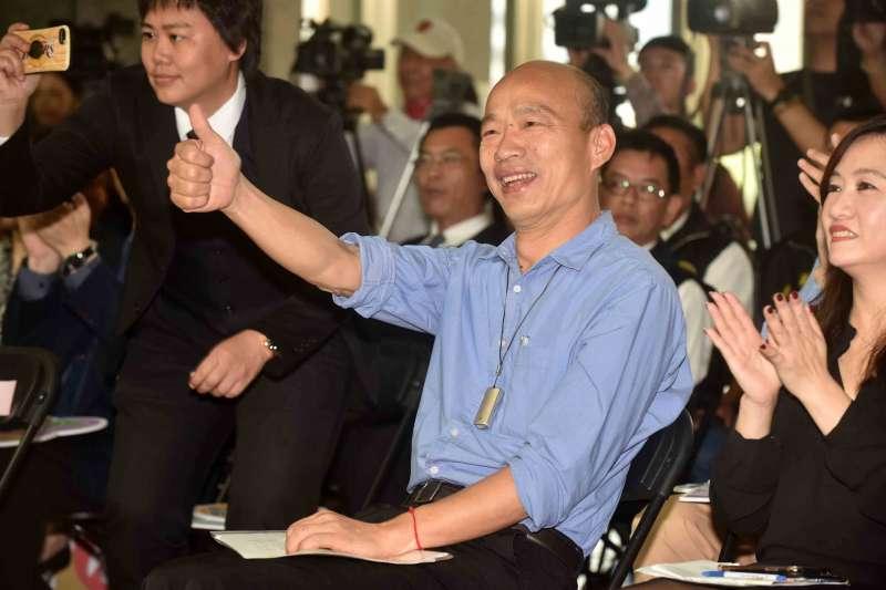 作者表示,高雄市長韓國瑜不僅具有古代政治人物項羽的霸氣,劉邦的雄才,諸葛亮的睿智,也具現代政治人物菲律賓總統杜特蒂,嫉惡如仇勇氣。(高雄市政府提供)