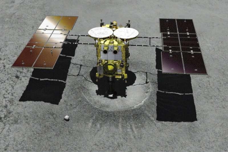 日本宇宙航空研究開發機構(JAXA)的探測器「隼鳥2號」。(美聯社)