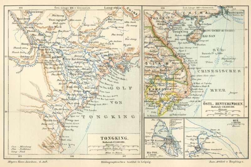 當時法軍將越南分為北圻、中圻、南圻三個區域,並稱河內為東京。(Wikipedia 公有領域)