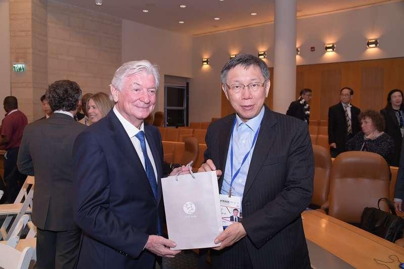 20190225-台北市長柯文哲出席以色列全球市長會議開幕典禮。(台北市政府提供)