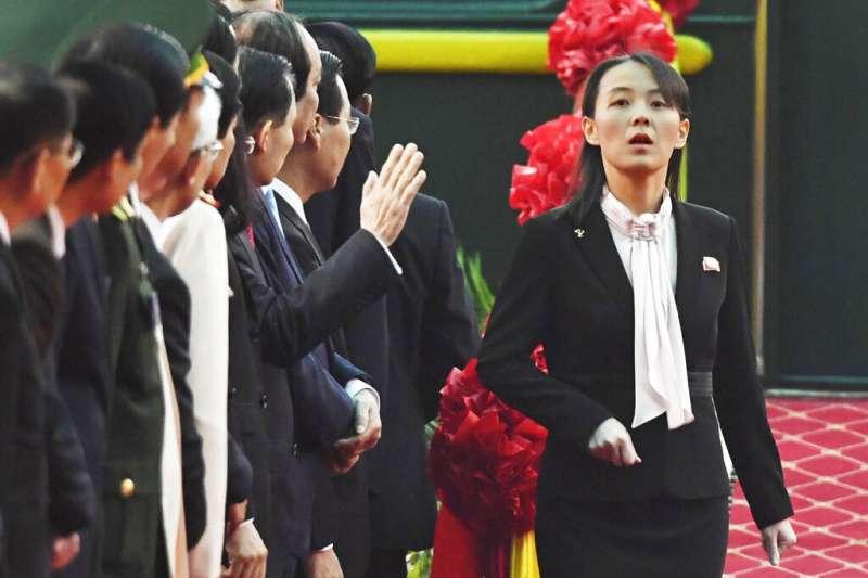金正恩胞妹、朝鮮勞動黨中央委員會第一副部長金與正跟隨前往兄長越南。(AP)