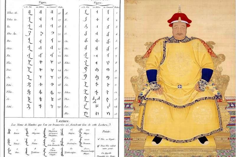 被聯合國教科文組織定為瀕危語言的滿文字母表與清朝創始者皇太極像(圖/維基百科)