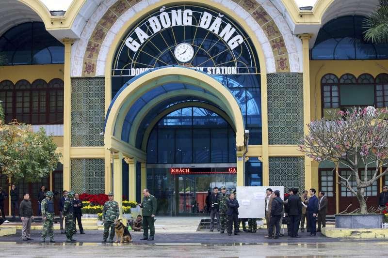 越南諒山省同登車站是金正恩專列的終點,北韓領導人在此轉搭汽車進入河內。(美聯社)