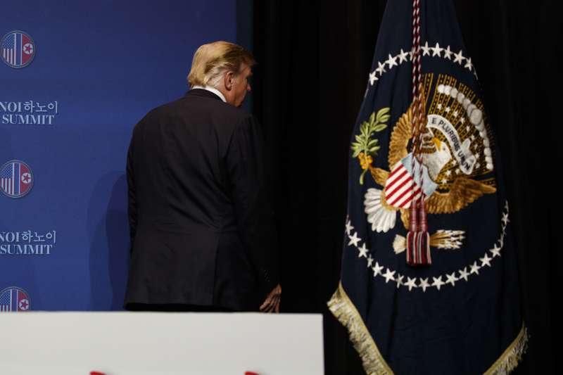 2019年2月28日河內川金會破局:美國總統川普召開會後記者會(AP)