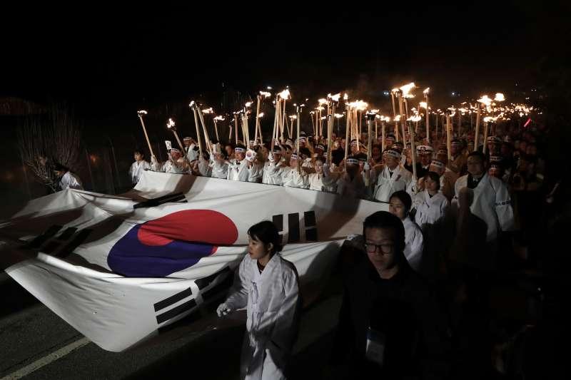2019年3月1日,南韓「三一運動」100周年紀念活動。(AP)
