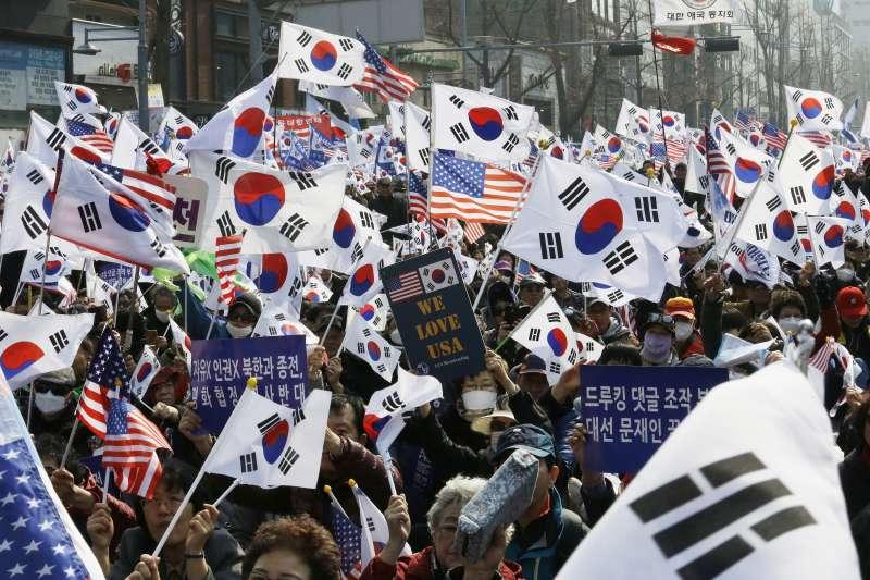 2019年3月1日,南韓光化門廣場的「三一運動」100周年紀念活動。(AP)