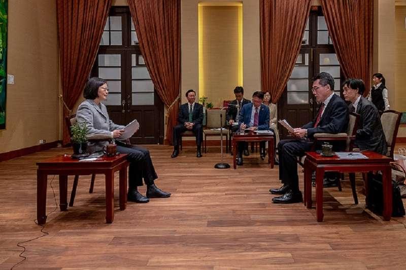 蔡英文總統接受日本產經新聞訪問。(總統府)