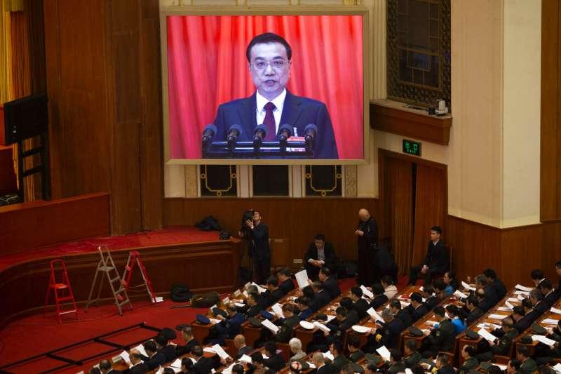 李克強5日上午在北京人民大會堂發表《政府工作報告》。(美聯社)
