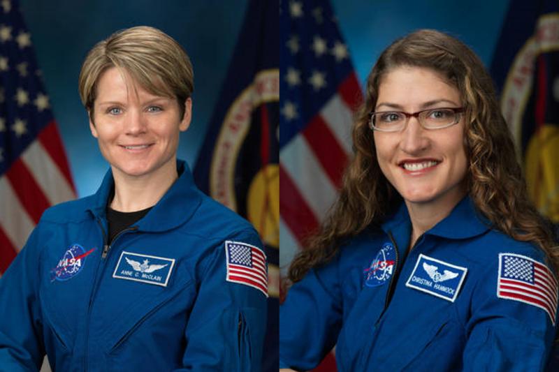 將執行此次太空漫步任務的2位女太空人麥克萊(Anne McClain)及柯赫(Christina Koch)。(取自NASA)