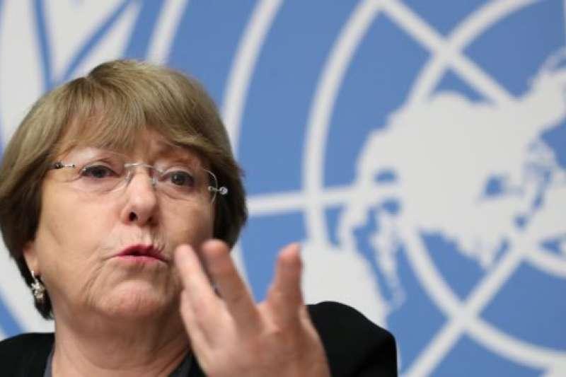 聯合國人權事務高級專員巴切萊特2018年在日內瓦總部講話。(美國之音)