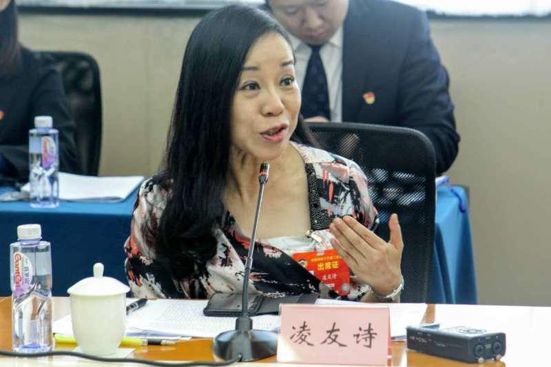台籍中國政協委員凌友詩(見圖)被內政部罰款50萬元,她表示將保留申訴權利,內政部次長陳宗彥今回嗆,「在中國可沒有此機會。」(資料照,張家豪攝)