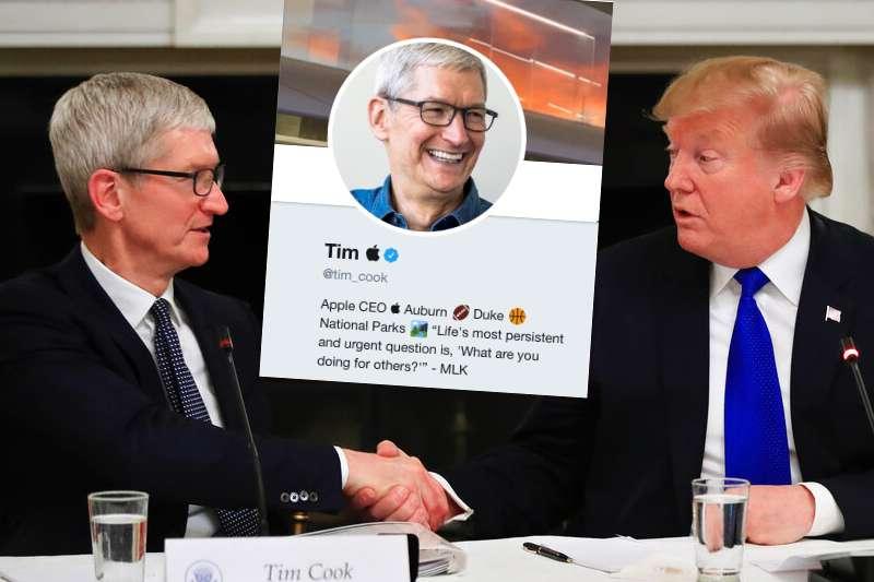 蘋果執行長提姆・庫克將錯就錯,乾脆把自己的推特也改成了提姆・蘋果。(美聯社、翻攝庫克推特)