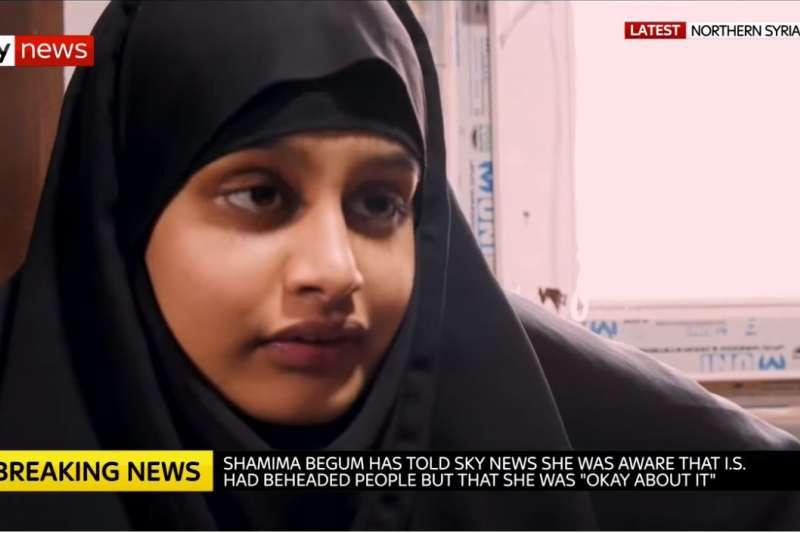 英國少女貝格姆接受英國媒體訪問時表示,她曾看過IS斬首,但她不覺得如何「因為他們是伊斯蘭國的敵人。」(截圖自SkyNews YouTube)