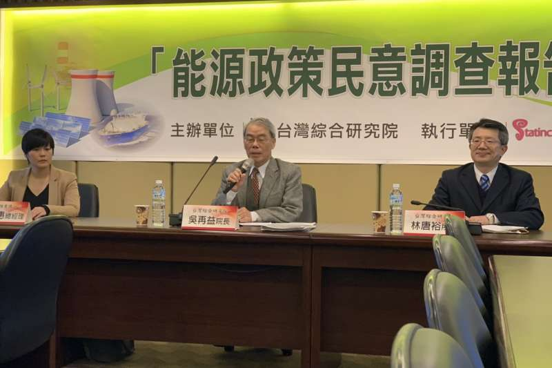 20190311_台灣綜合研究院今(11)日發布能源政策民調。圖中為台綜院院長吳再益。(尹俞歡攝)