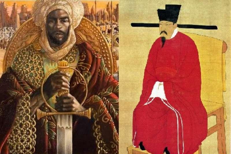 圖左是人類史上富豪排行榜的第一名,馬利帝國的曼薩穆薩一世(Mansa Musa);圖右則是第三名的宋神宗。(圖/維基百科)