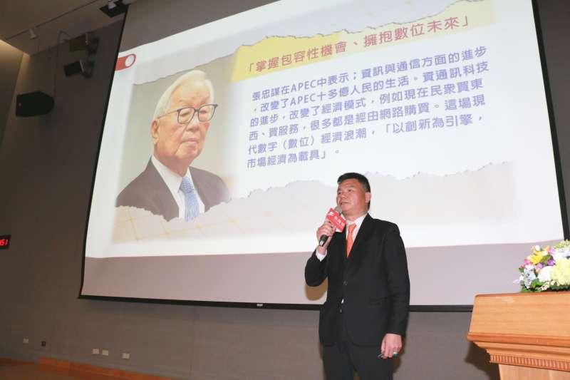 台灣觀光發展協會理事長林進榮表示,貨幣的虛擬化也意味著人類正式進入了虛擬社會和現實社會對接的階段。數位經濟將改變觀光旅遊產業的行銷模式、跨境匯兌及管理方式。(圖/李梅瑛攝)