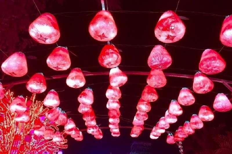 此次屏東燈會廣受好評的蓮霧造型花燈,為作者高中同班好友參與製作工程。(作者提供)